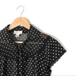 LOFT Ann Taylor black sheer polka dot button top
